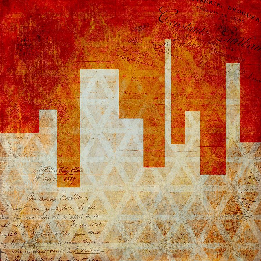 Brandi Fitzgerald Digital Art - Abstract Orange Geometric Shapes by Brandi Fitzgerald
