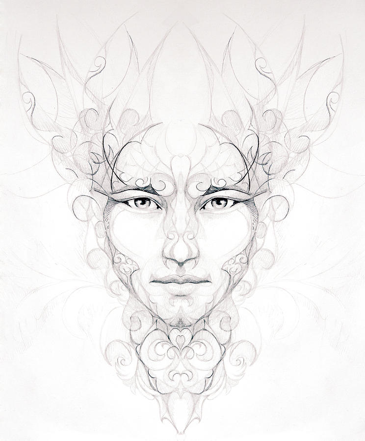 Abstract Ornamental Drawing Of Man Face Portrait On Paper Eye