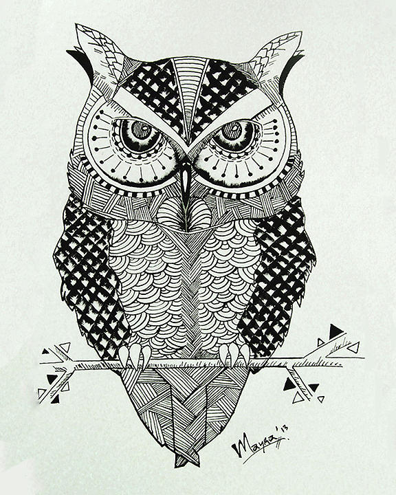 Owl Drawing - Abstract Owl by Mayra Ortiz