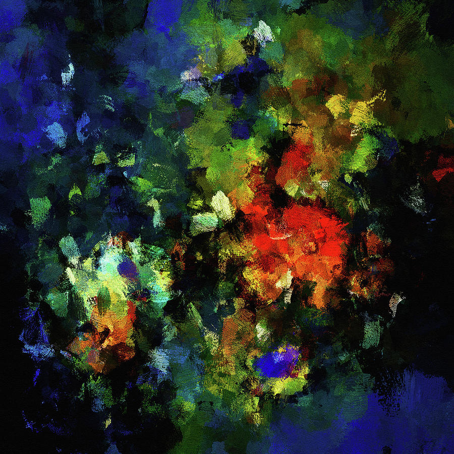 Abstract Painting In Dark Blue Tones