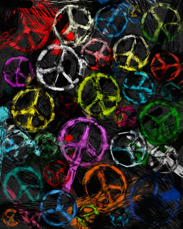 Abstract Peace Signs Collage Photograph