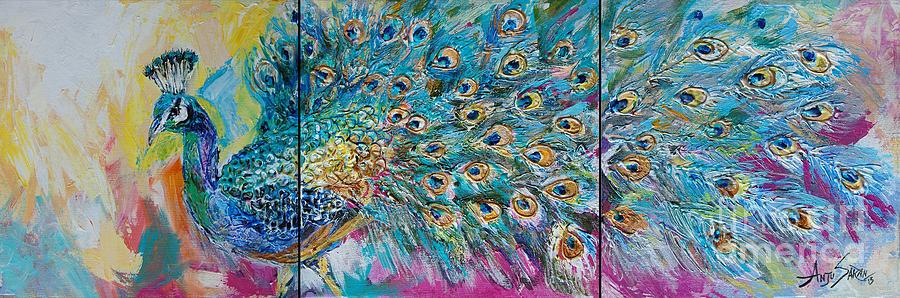 Peacock Painting - Abstract Peacock by Anju Saran