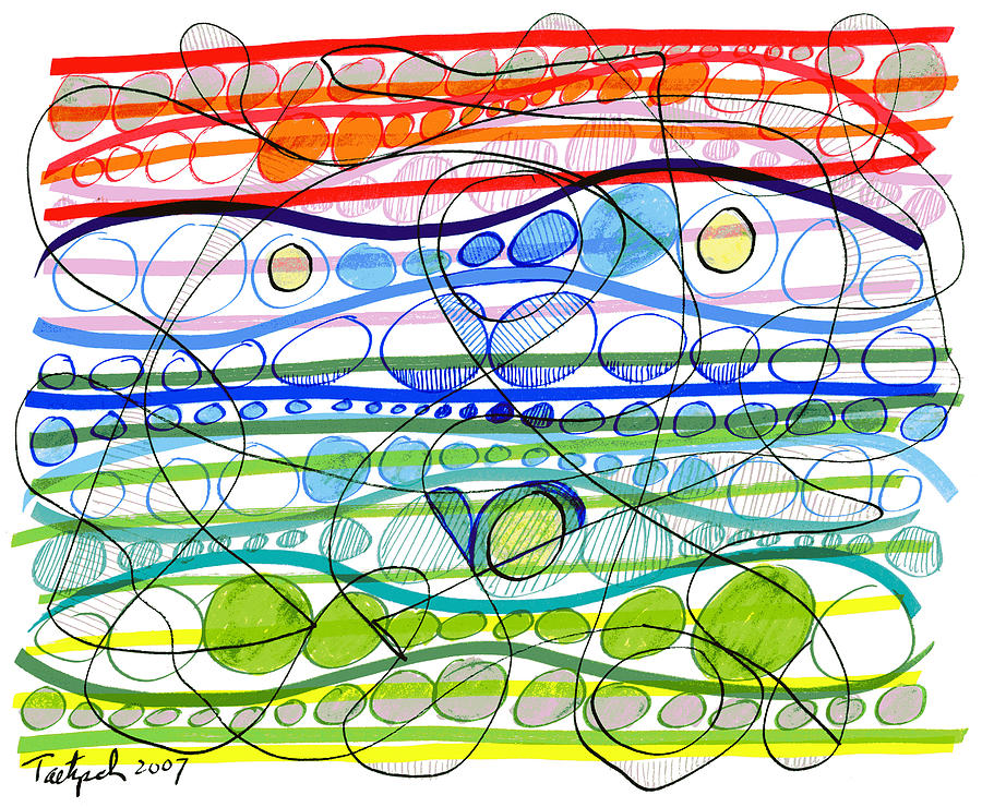 Abstract Drawing - Abstract Pen Drawing Sixteen by Lynne Taetzsch