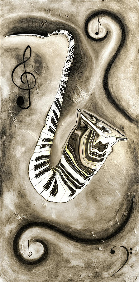 Abstract Mixed Media - Piano Keys In A Saxophone 3 - Music In Motion by Wayne Cantrell