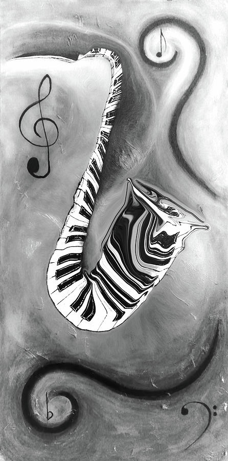Abstract Mixed Media - Piano Keys In A Saxophone 4 - Music In Motion by Wayne Cantrell