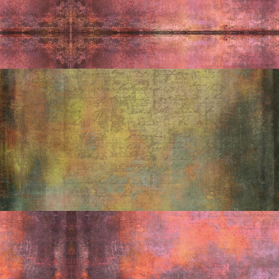 Brandi Fitzgerald Digital Art - Abstract Pink And Green Metallic Rectangle by Brandi Fitzgerald