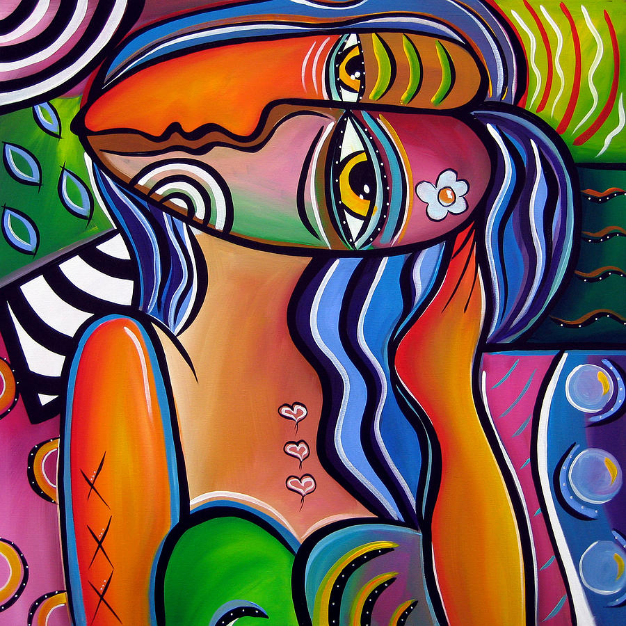 Abstract Pop Art Original Painting Shabby Chic