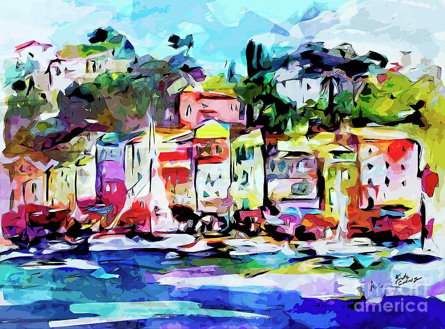 Abstract Portofino Italy Art  Mixed Media by Ginette Callaway