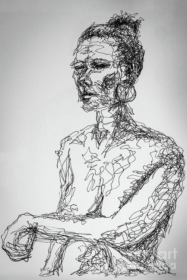 Line Drawing Figure : Abstract portrait continuous line drawing by