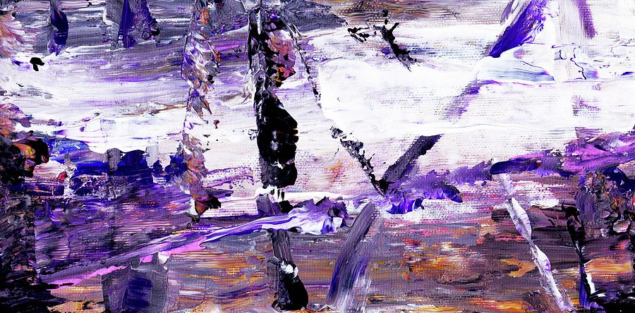 Abstract Purple White Black Painting By Del Art