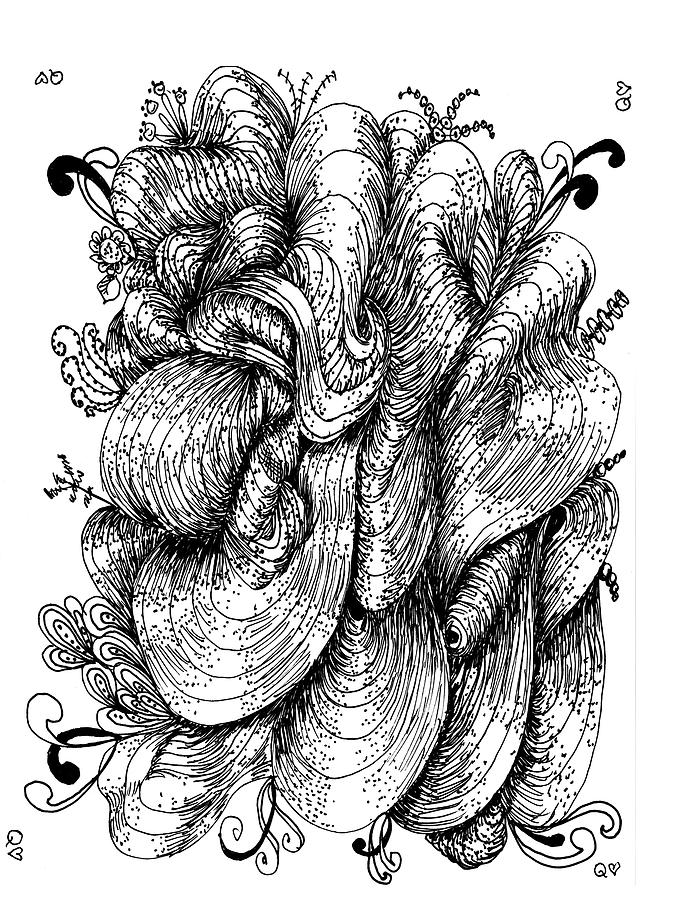 Pen Drawing - Abstract by Quwatha Valentine