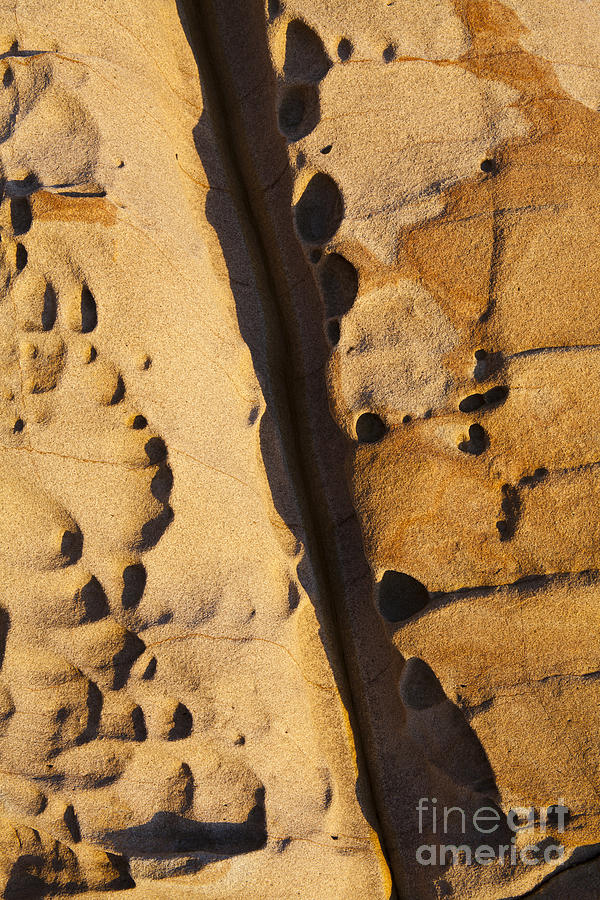 Rock Formation Photograph - Abstract Rock with Diagonal Line by Sharon Foelz