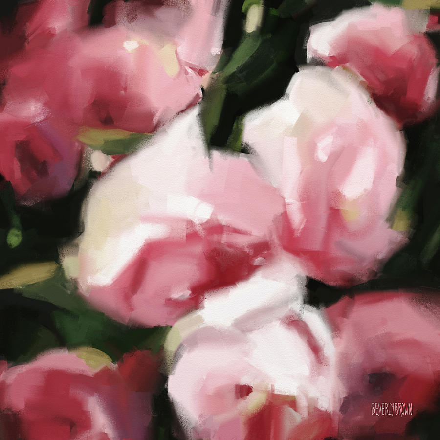 2304dff2b71 Abstract Roses Dark And Light Pink Painting by Beverly Brown