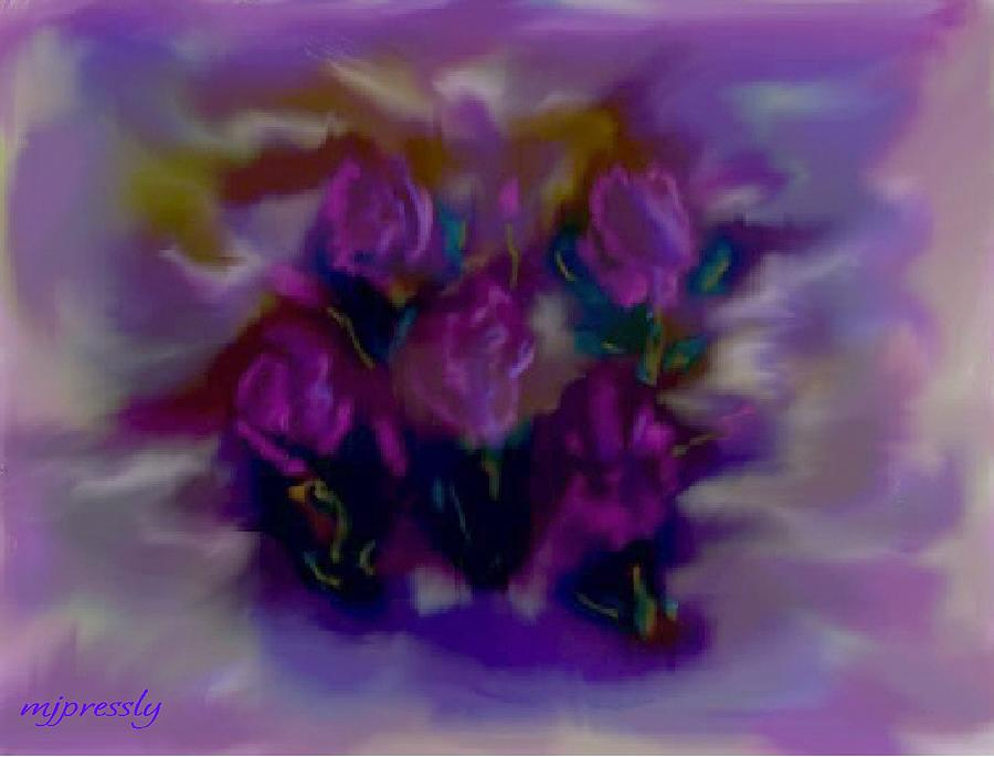 Roses Digital Art - Abstract Roses by June Pressly