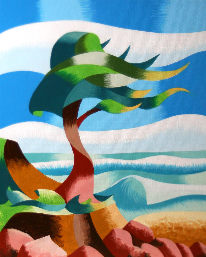 Cypress Painting - Abstract Rough Futurist Cypress Tree by Mark Webster