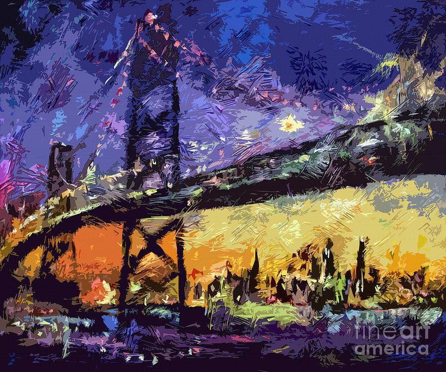 Abstract Painting - Abstract San Francisco Oakland Bay Bridge At Night by Ginette Callaway