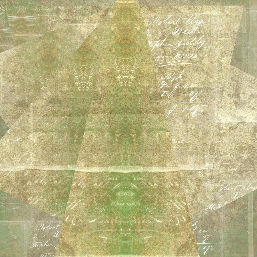 Brandi Fitzgerald Digital Art - Abstract Script In Green Gold Triangles by Brandi Fitzgerald