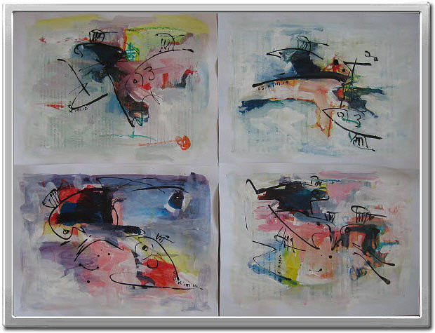 Contemporary Set Paintings Painting - Abstract Sketch304 by Seon-Jeong Kim