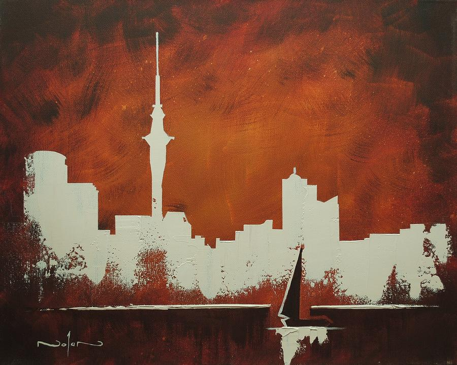 Oil Painting - Abstract Skyline - Auckland by Nolan Clark