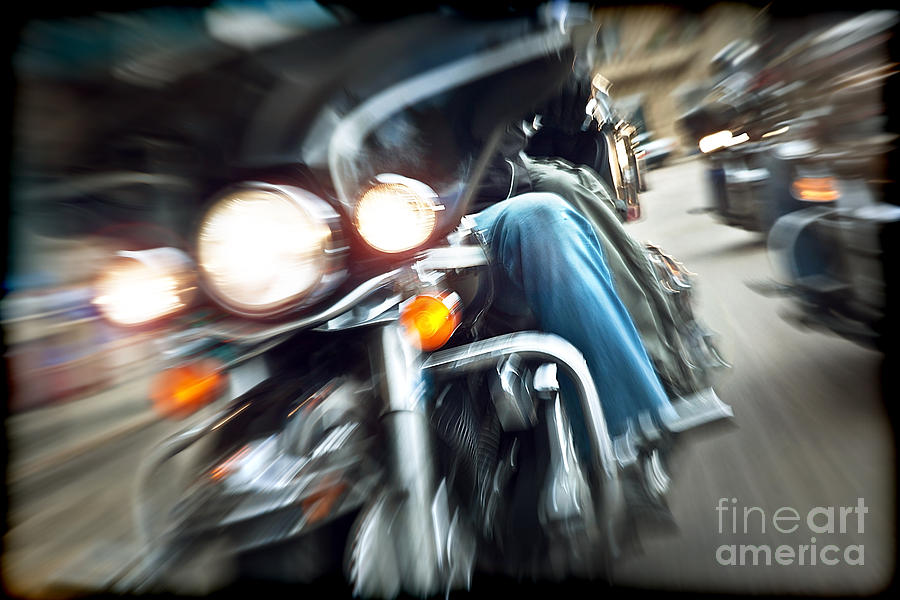 Abstract Photograph - Abstract Slow Motion Bikers Riding Motorbikes by Anna Om