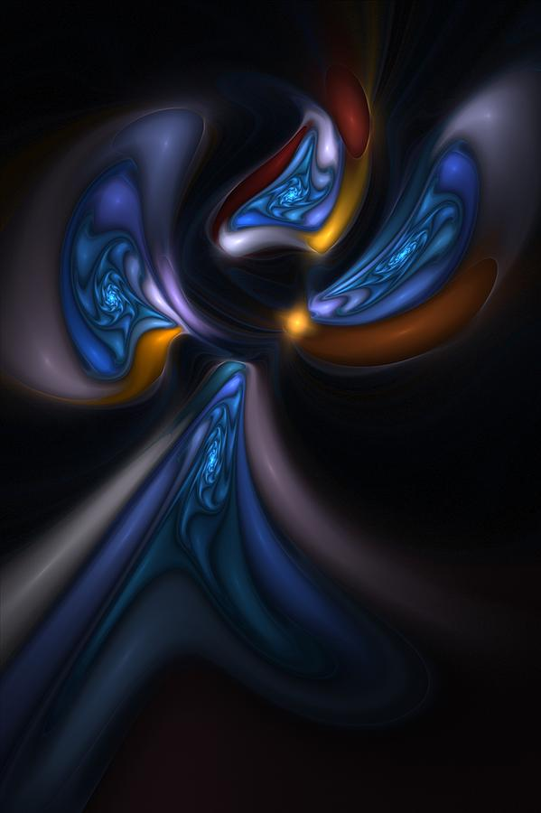 Digital Painting Digital Art - Abstract Stained Glass Angel by David Lane