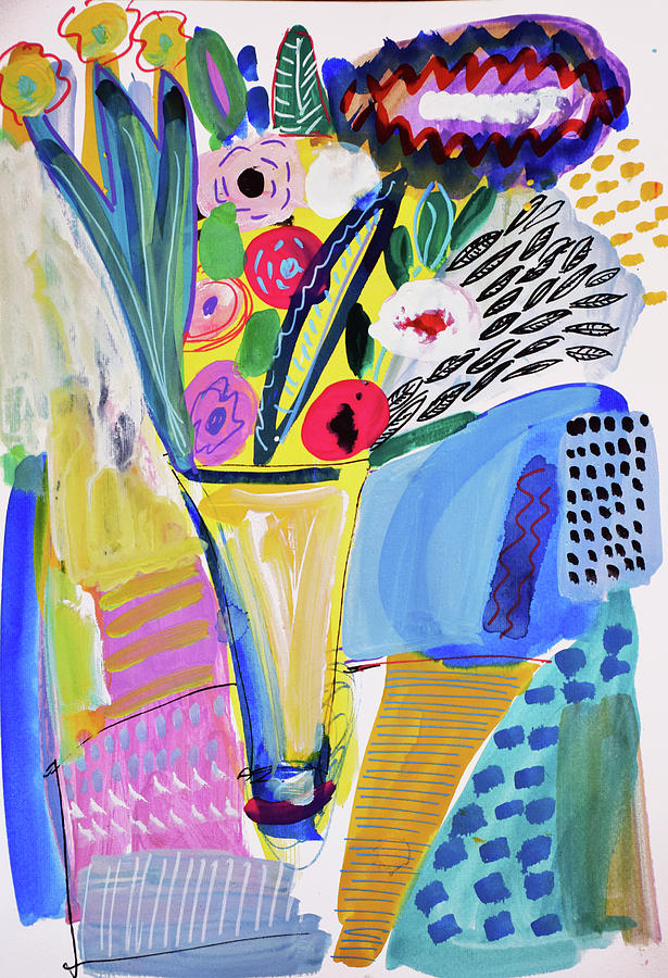 Painting Painting - Abstract Still Life With Flowers by Amara Dacer