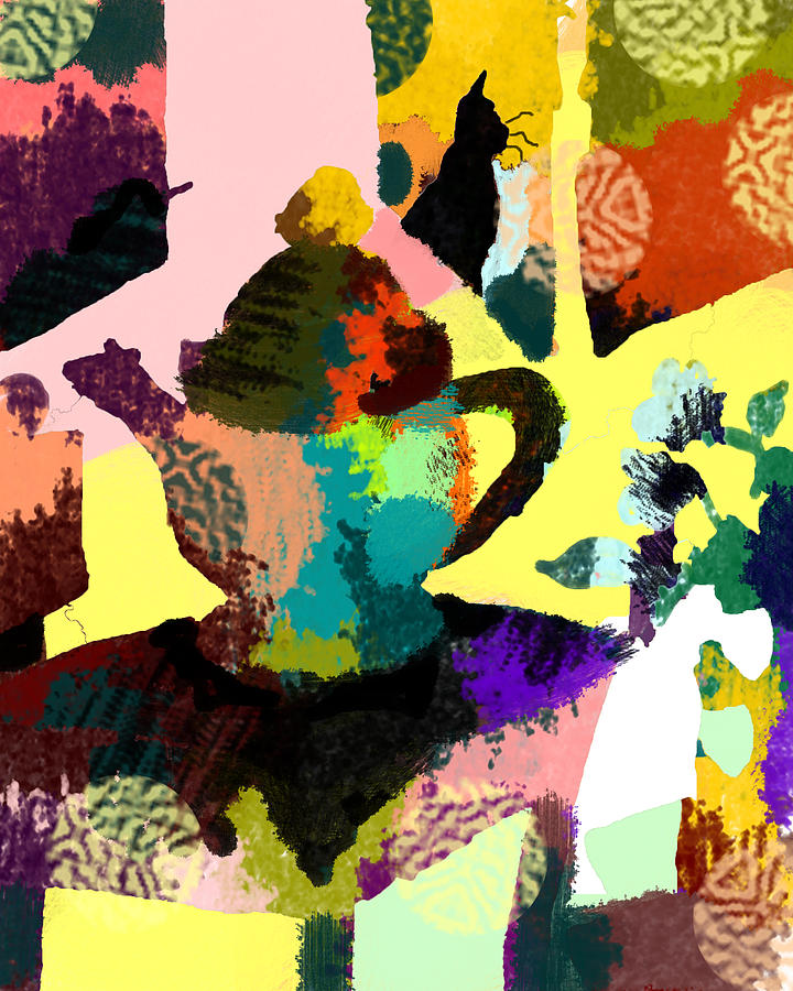 Abstract Still Life With Teapot Digital Art By Holly Mcgee