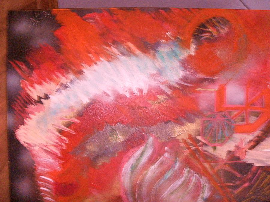 Abstract Red Green White Painting - Abstract Study In Red  by Anne-Elizabeth Whiteway