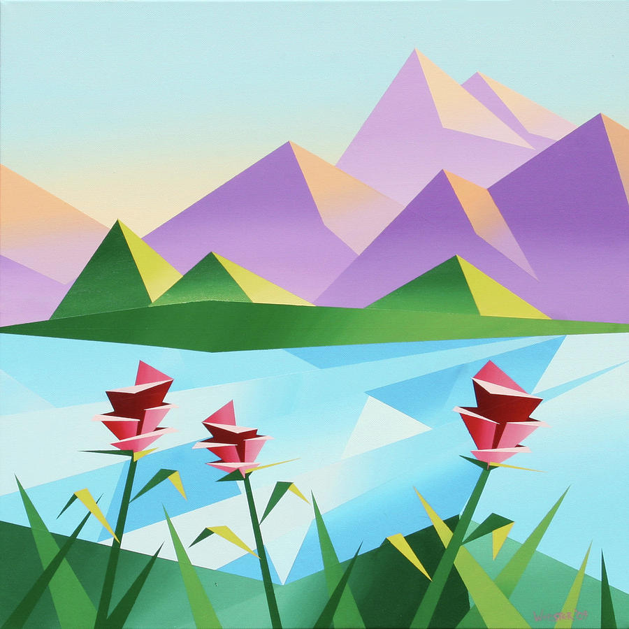 Daily Painters Painting - Abstract Sunrise At The Mountain Lake 2 by Mark Webster
