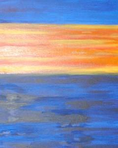 Abstract Sunset Painting by Cyndee Bessant