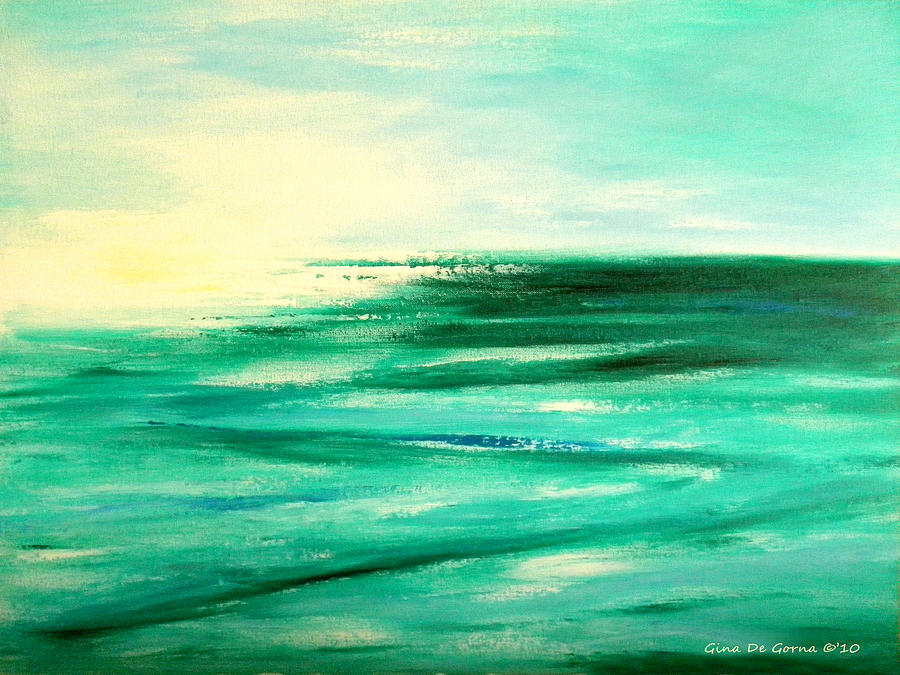 Sunsets Painting - Abstract Sunset In Blue And Green by Gina De Gorna