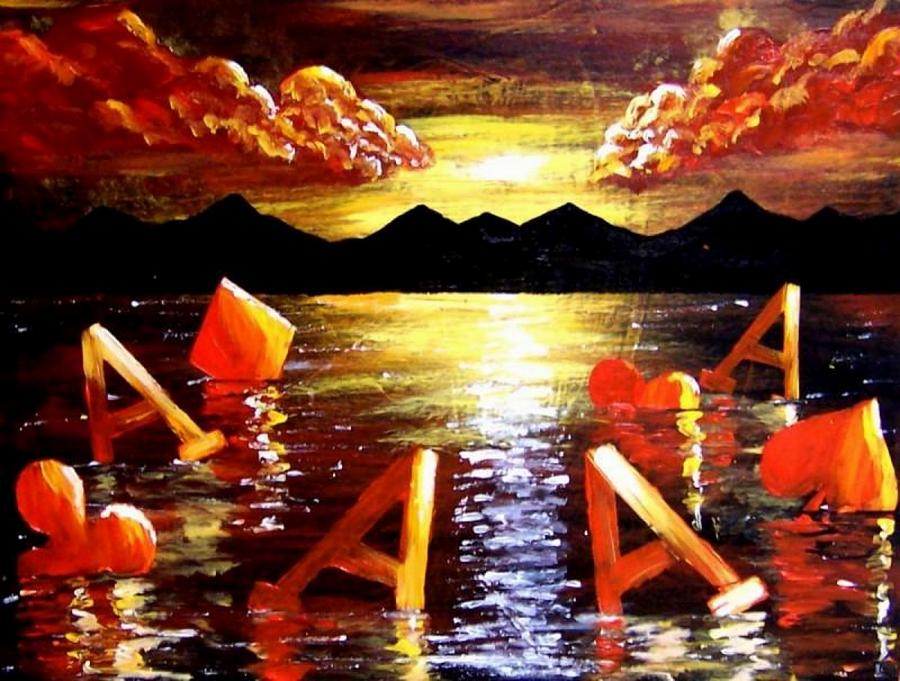 Poker Painting - Abstract Sunset Landscape Seascape Floating Aces Suits Poker Art Decor by Teo Alfonso