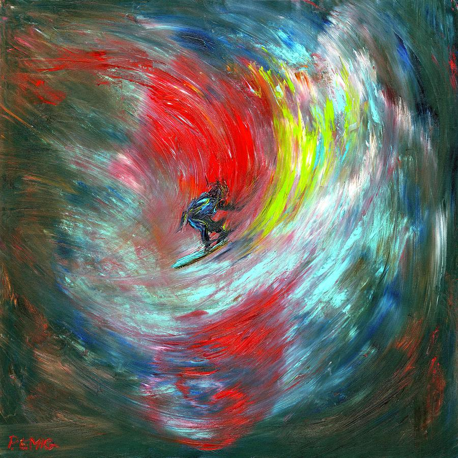 Surfer Painting - Abstract Surfer by Paul Emig