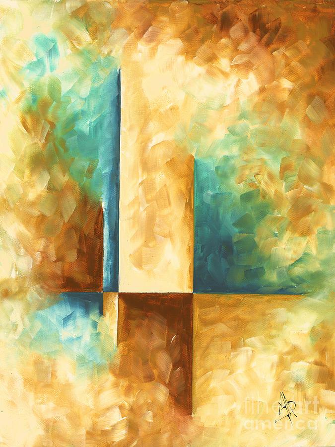 abstract teal golden rust minimalist contemporary pop art painting aqua maze ii by madart. Black Bedroom Furniture Sets. Home Design Ideas