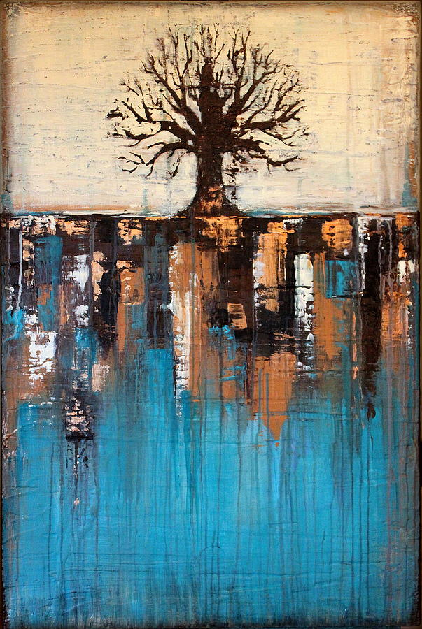 Abstract Tree In Teal Landscape Texture Painting Teal And Brown