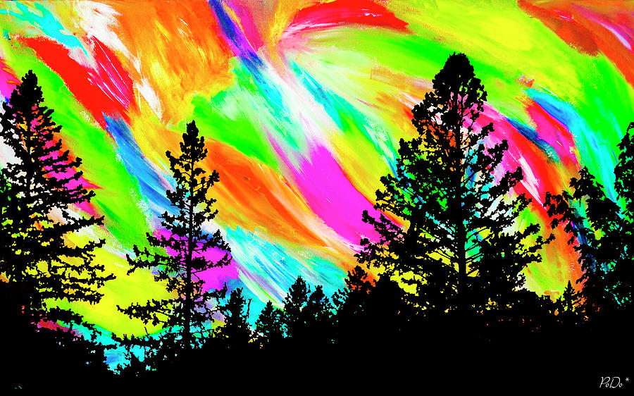 Landscape Painting - Abstract Treeline by PODO Now