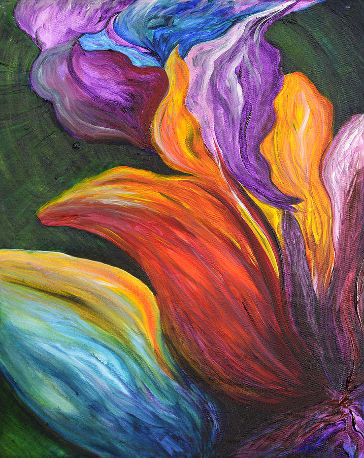 Abstract Painting - Abstract Vibrant Flowers by Michelle Pier