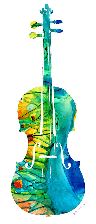 Abstract Violin Art By Sharon Cummings Painting