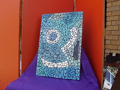 Blue Glass Art - Abstract Wall Hanging by Shelly Bird