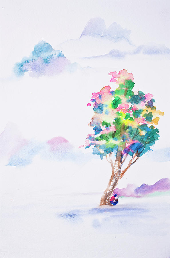 Abstract watercolor hand painted background Drawing by ...