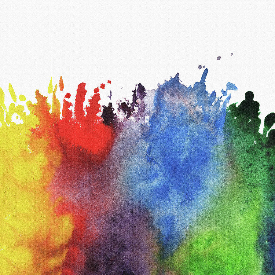 Abstract Watercolor Rainbow Splash Painting by Irina ...