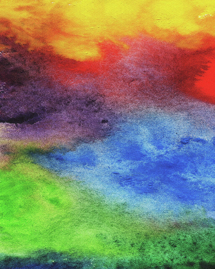Abstract Watercolor Wash And Splash Rainbow Light Painting