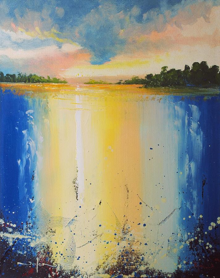 Oil Painting - Abstract Waterfall at Sunset by Nolan Clark