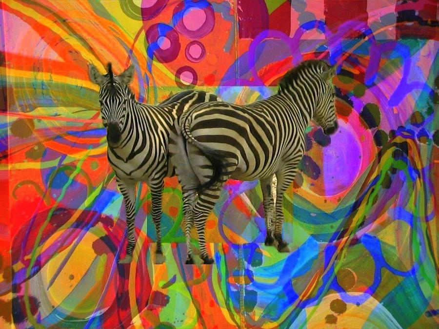Zebra Photograph - Abstract With Zebras by Sandie Smith