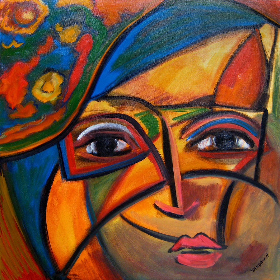 Abstract Woman with Flower Hat by Katt Yanda