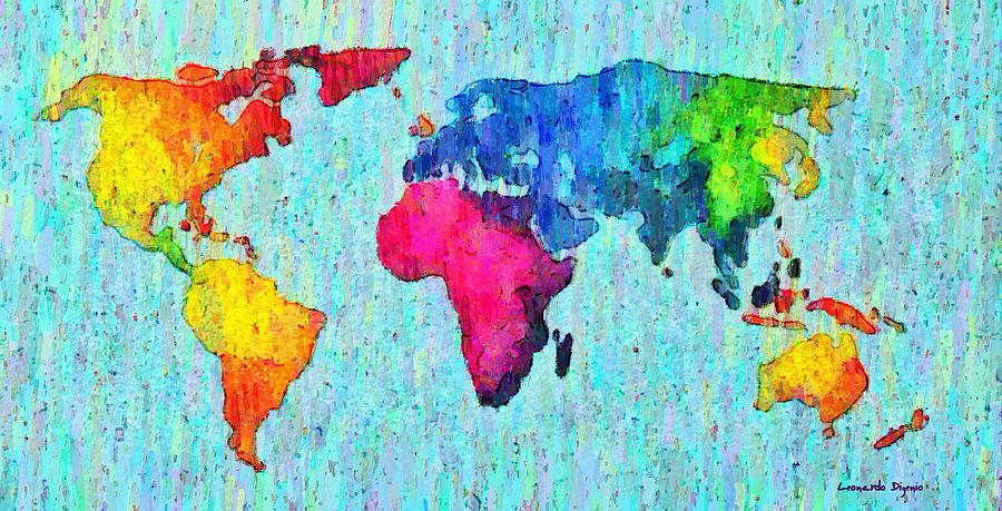 Abstract Global Map Art