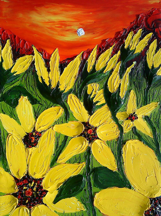 Abstract World Of Yellow Painting by Portland Art Creations