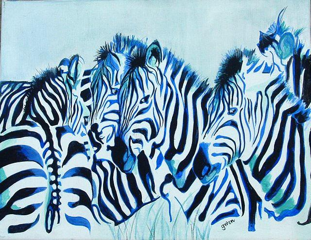 Zebra Painting - Abstract Zebras by Gwendolyn Frazier