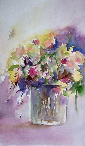 Flowers Painting - Abstracted Floral by Gilberte Vermeulen