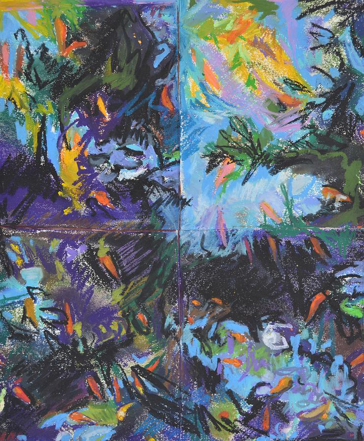 Koi Drawing - Abstracted Koi Pond by Aletha Kuschan
